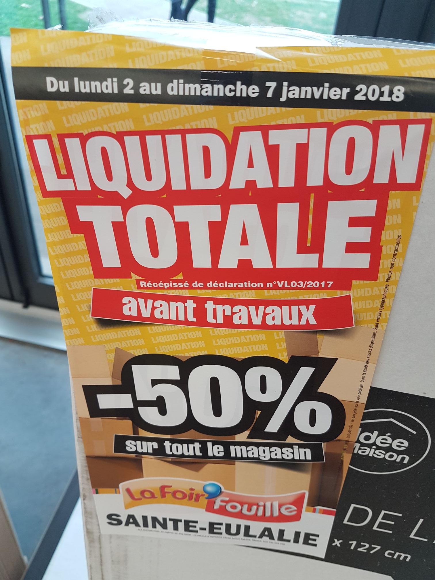 50% de réduction sur tout le magasin La Foir'Fouille Sainte-Eulalie (33)