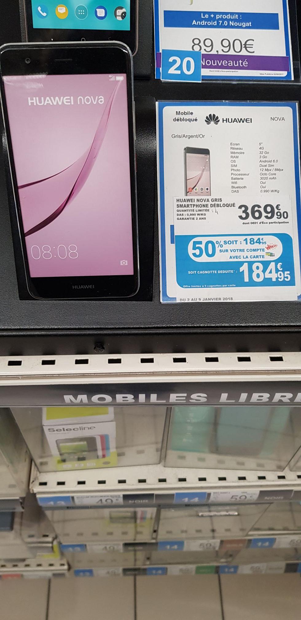 """Smartphone 5"""" Huawei Nova - 3 Go RAM, 32 Go ROM, 4G (via 184.95€ sur la carte fidélité) - Grande-Synthe (59)"""