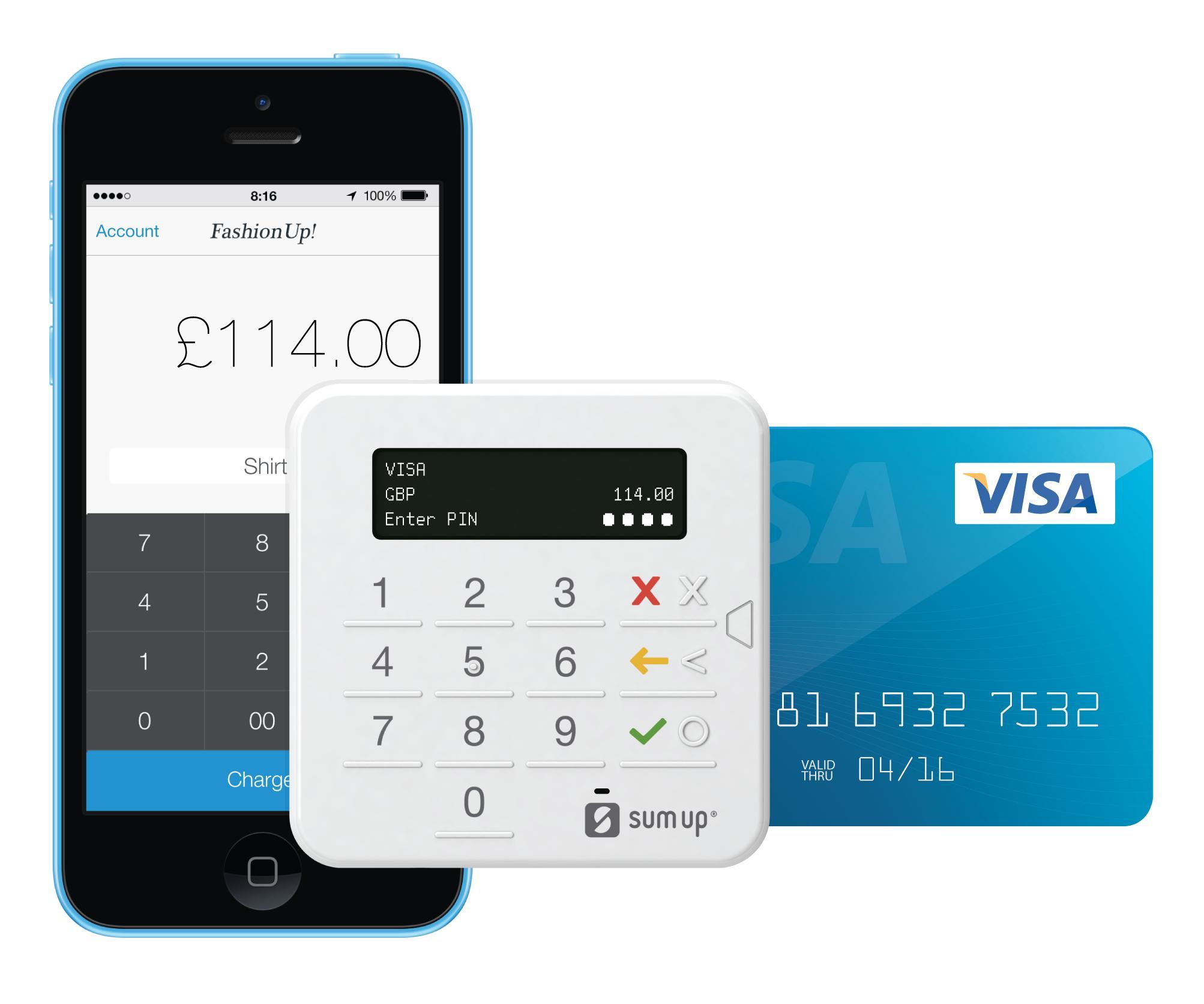 Terminal de Paiement Sans-fil SumUp compatible iOS et Android - Bluetooth