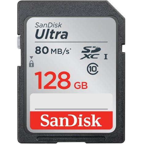 Carte SDXC Sandisk Ultra - 128 Go (Via 34.95€ sur la Carte de Fidélité)