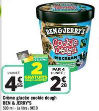 Lot de 4 pots de crème glacée 500 ml Ben&Jerry's (avec BDR)