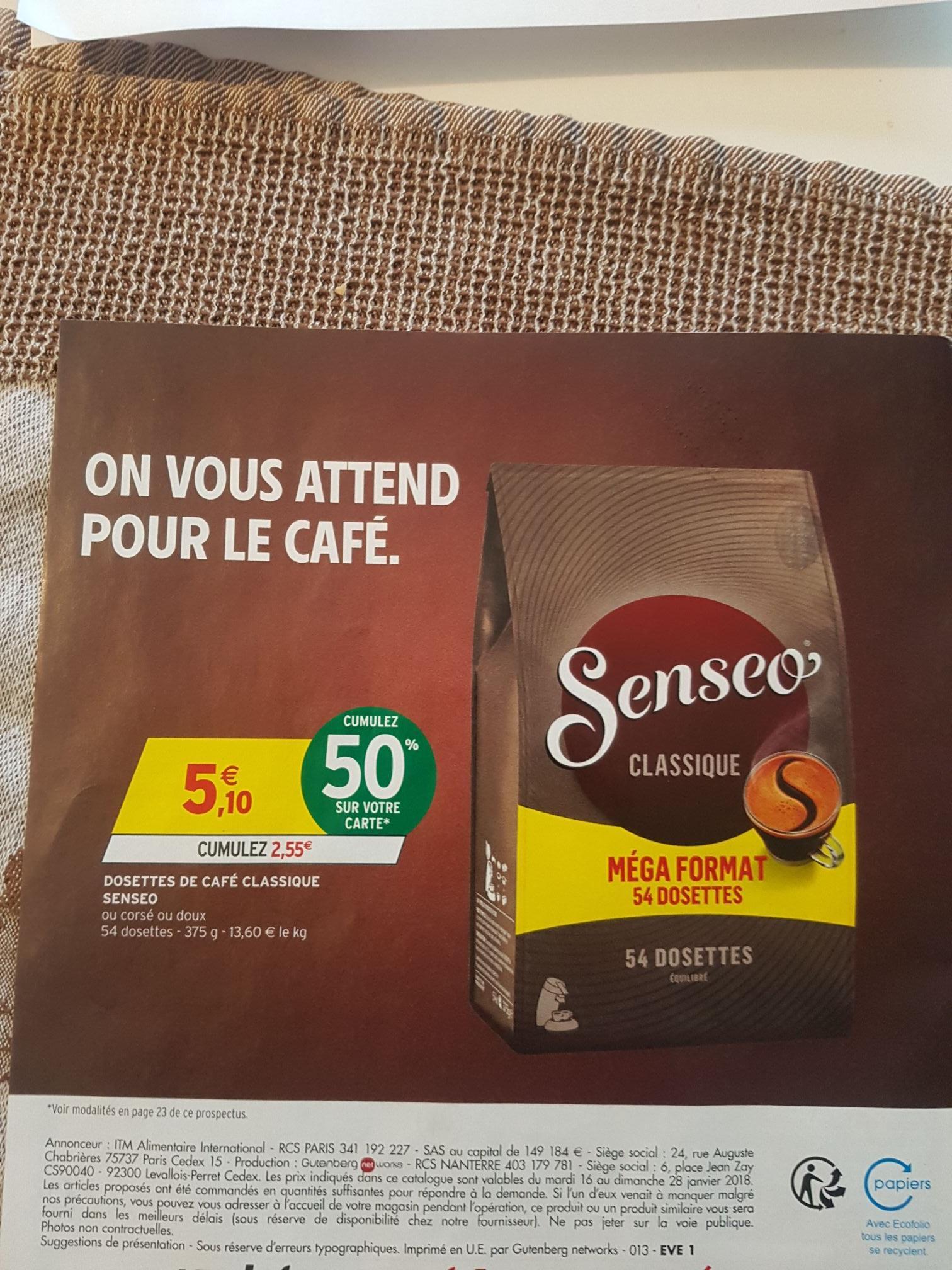 Paquet de 55 dosettes Senseo Classique (via 2.55€ la carte fidélité)