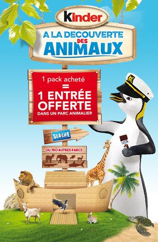 [Sous conditions] 1 entrée dans un parc animalier offert pour l'achat d'un produit parmi une sélection (Kinder)