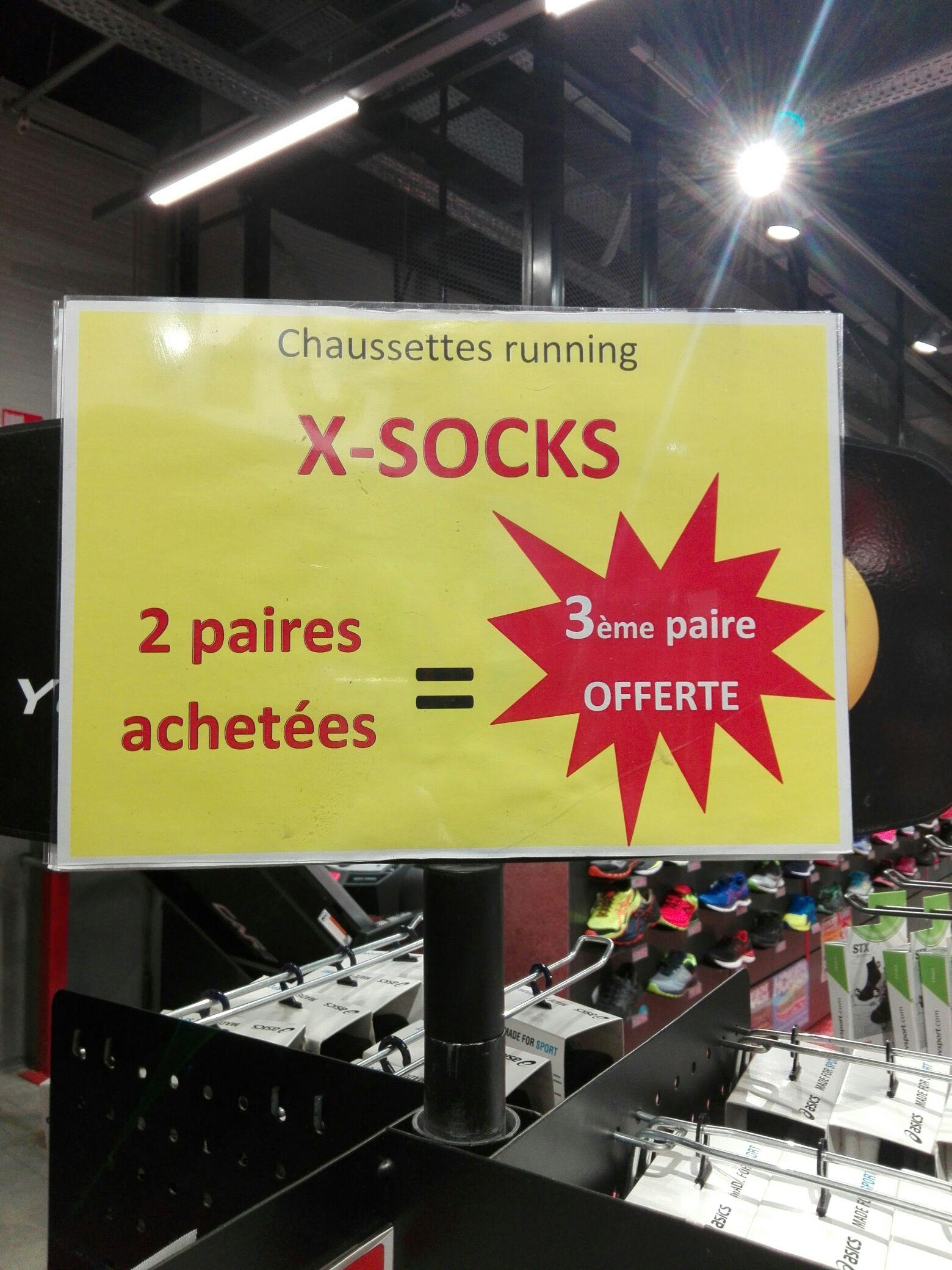 2 paires de chaussettes running X-socks achetées = la 3ème offerte - Langon (33)