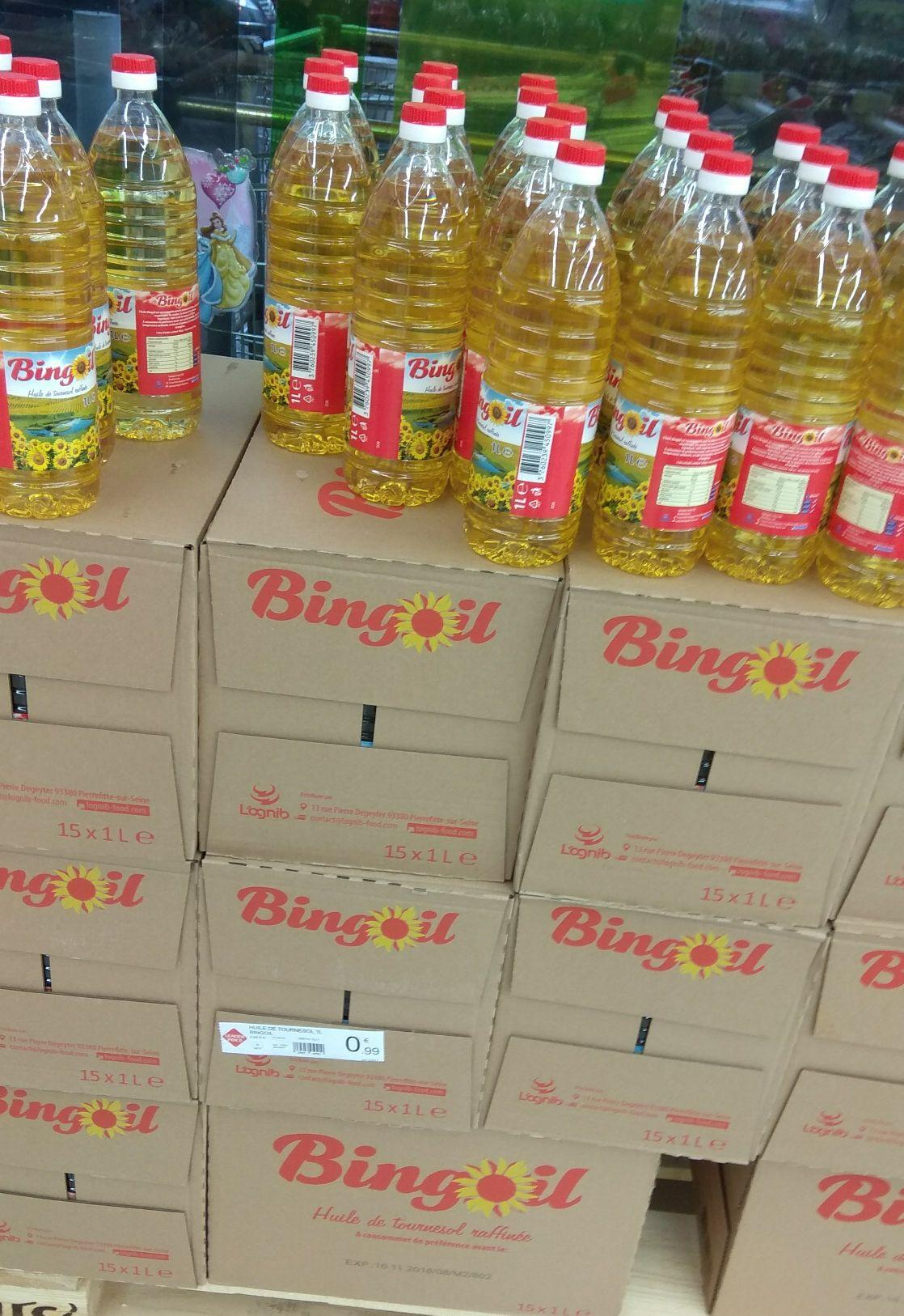 Bouteille d'huile de tournesol Bingoil - 1 L au Leader Price Claye-Souilly (77)