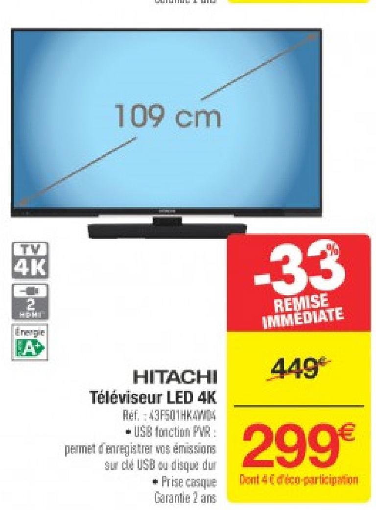 """Sélection de produits soldés - Ex : TV 43"""" Hitachi 43F501HK4W04 - 4K LED, barbecues gaz, outils"""