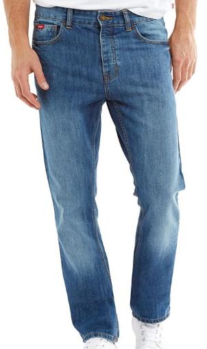 Sélection de Jeans Lee Cooper en Promotion - Ex: Droit Basicon Bleu Moyen Délavé pour Hommes (Tailles au choix)