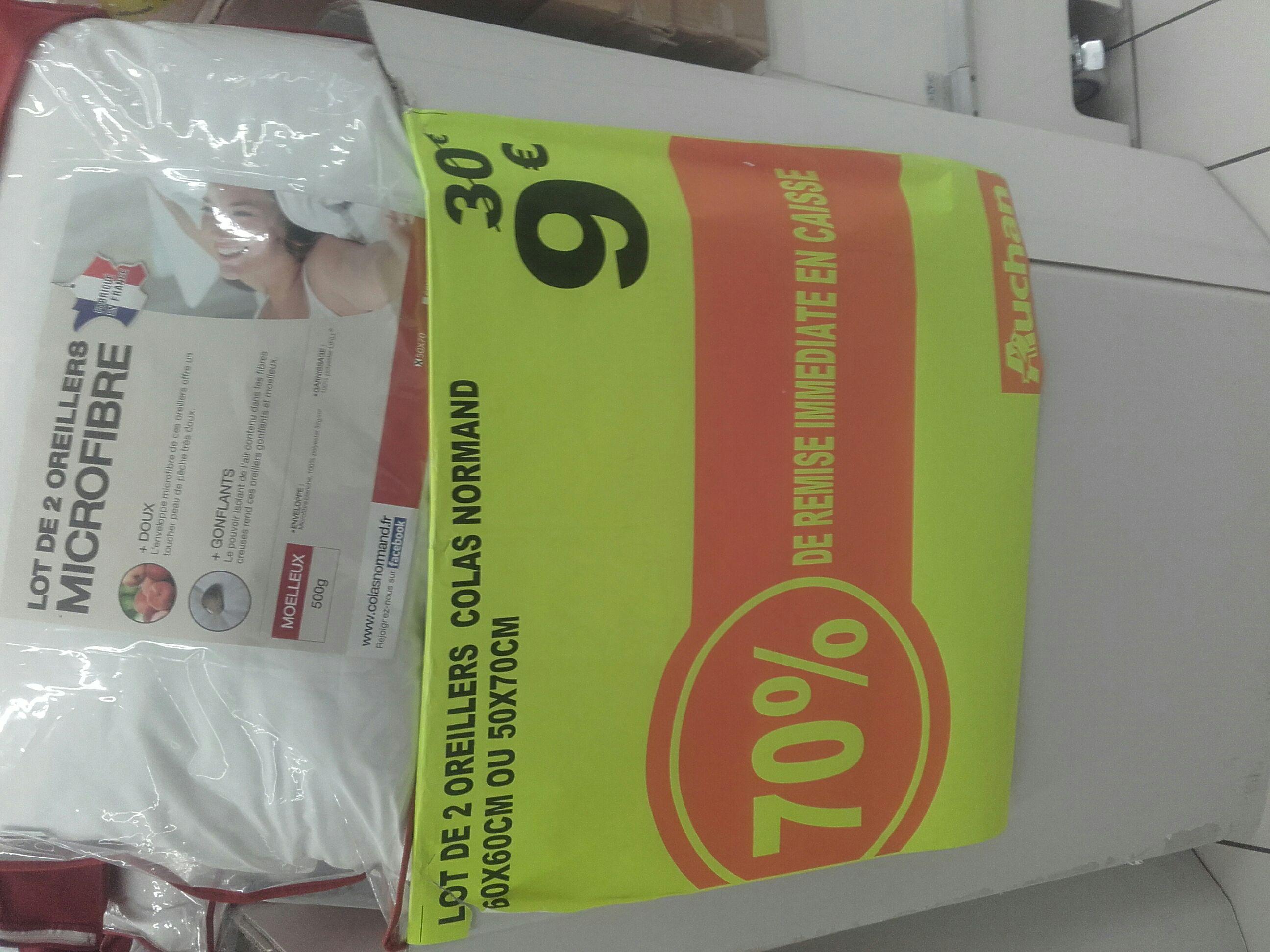 Sélection de produits Colas Normand en promotion jusqu'à -70% - Ex : lot de 2 oreillers en microfibre 60×60 ou 50x70 fabriqué en France - Auchan Neuilly-sur-Marne (94)