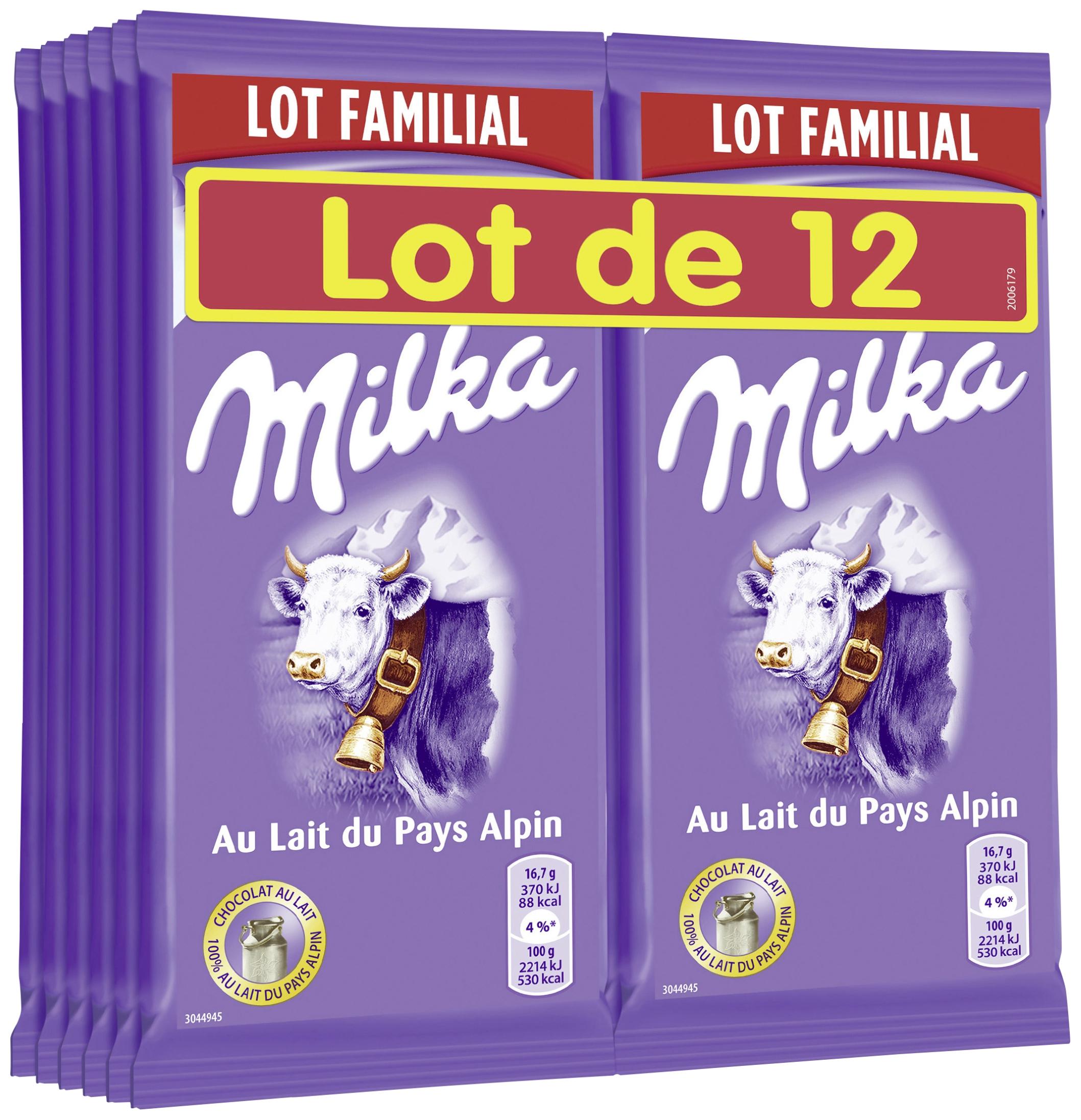 Lot 12 Tablettes de Chocolat Milka - 12 x 100 g