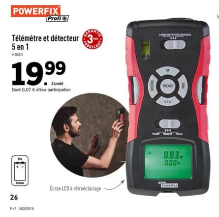 Télémètre et détecteur 5 en 1 Parkside