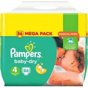 [Mercredis 10 & 17 janvier] Paquet de couches Pampers Baby-Dry - x86, taille 4 (via 15€ sur la carte de fidélité)