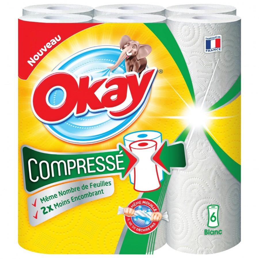 Lot de 6 rouleaux Essuie-Tout Okay (via BDR + 1,86 € sur la carte fidélité)