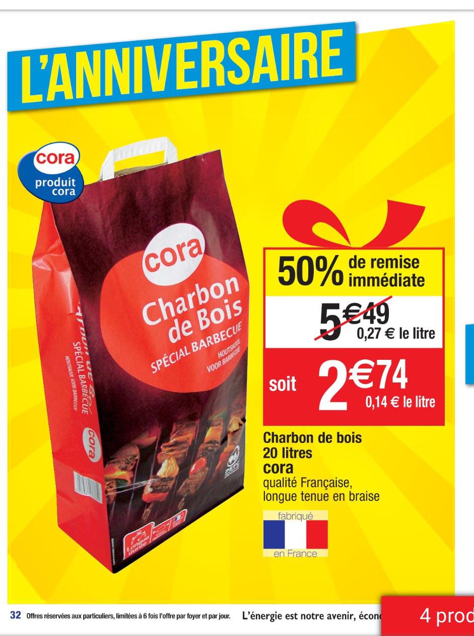 Charbon de bois Cora 20l reduction immediate