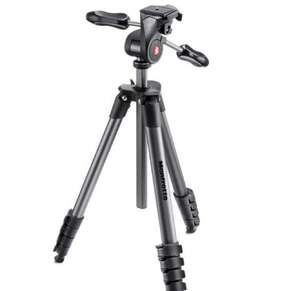 Trépied Manfrotto Compact Advanced Kit + Rotule 3D 5 Sections Noir