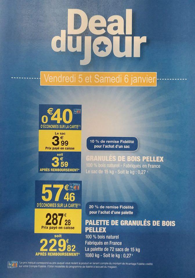 Sac de 15 kg de granulés de bois pellex (via 0.40€ sur la carte fidélité) - Villers-Blocage (14)