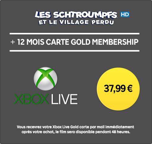Abonnement de 12 mois au Xbox Live + Les Schtroumpfs et le Village perdu  en location HD 48h