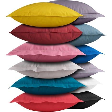 ACTUEL Taie d'oreiller unie coton 57 fils - 50x70 ou 64x64cm