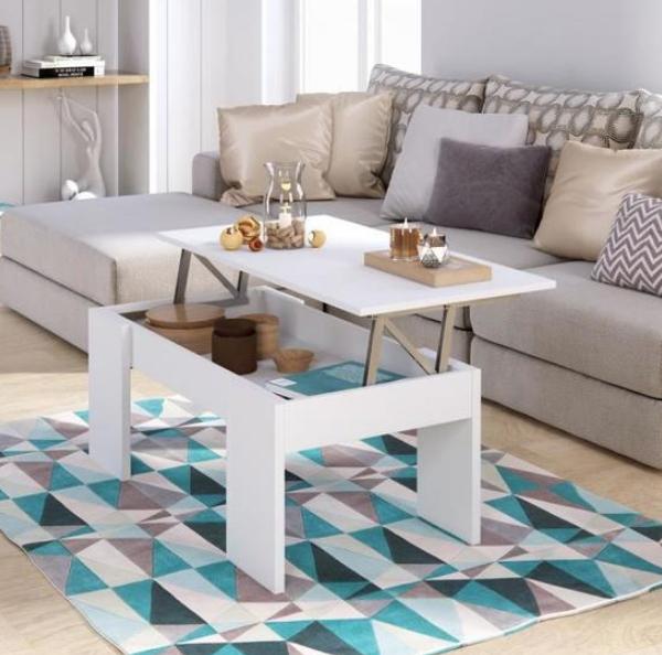Table basse avec plateau relevable Swing - 100x150 cm, blanc
