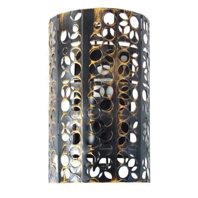 Applique métal perforé demi cylindre pour ampoules E27, 60W Noir ou gris