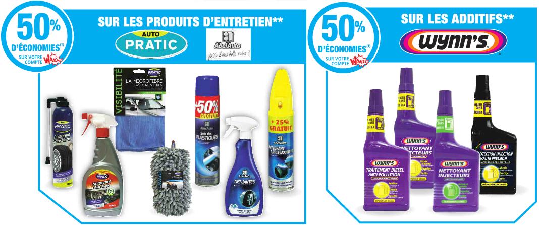 -50% sur la carte Waaoh sur une sélection de produits d'entretien Auto Pratic et AbelAuto et d'additifs Wynn's