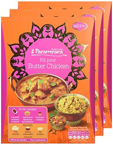 Parampara - Kit de Préparation pour Butter Chicken Contenant Concentré d'Épices, Riz Parfumé et Chutney à la Mangue - Lot de 3