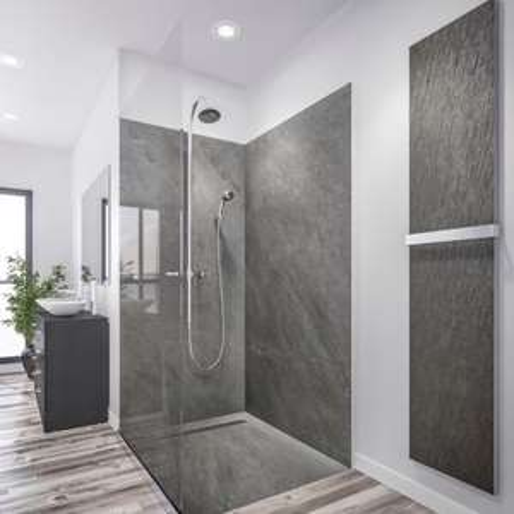 Receveur de douche en pierre + mur en pierre Marmox