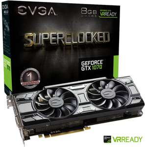 Carte graphique EVGA GeForce GTX 1070 SuperClocked - ACX 3.0 Black Edition, 8 Go