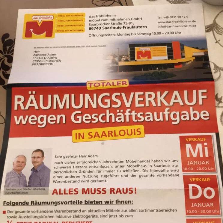 50% de réduction sur tout le magasin Das Froehliche M - Saarelouis (Frontaliers Allemagne)