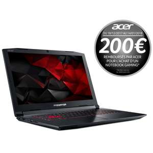 "PC Portable 17,3"" Predator Helios 300 PH317-51-7815 - i7-7700HQ, 8 Go de Ram, 1 To + 128 Go SSD, GeForce GTX 1060 6Go (via ODR 200€)"