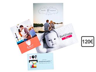 Promotion sur les cartes cadeaux - Ex: Bon d'achat de 120€ valable sur les Cartes et Faire-part