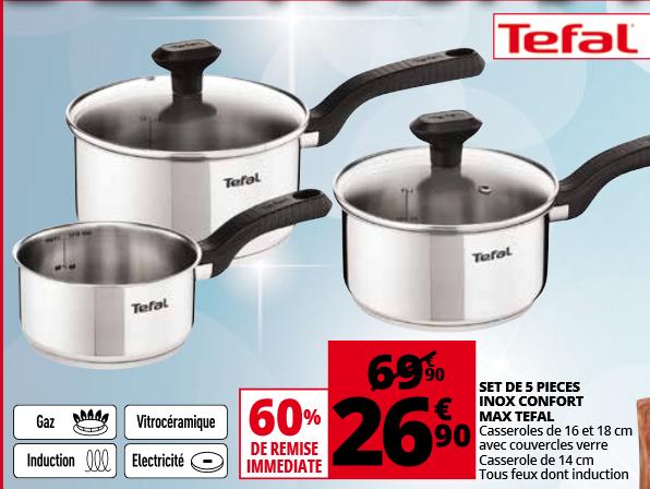Set de 5 pièces Tefal (3 casseroles + 2 couvercle) Confort Max inox - Nice (06)