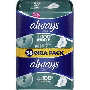 2 Giga Packs de serviettes hygiéniques Always (2x38) Via BDR