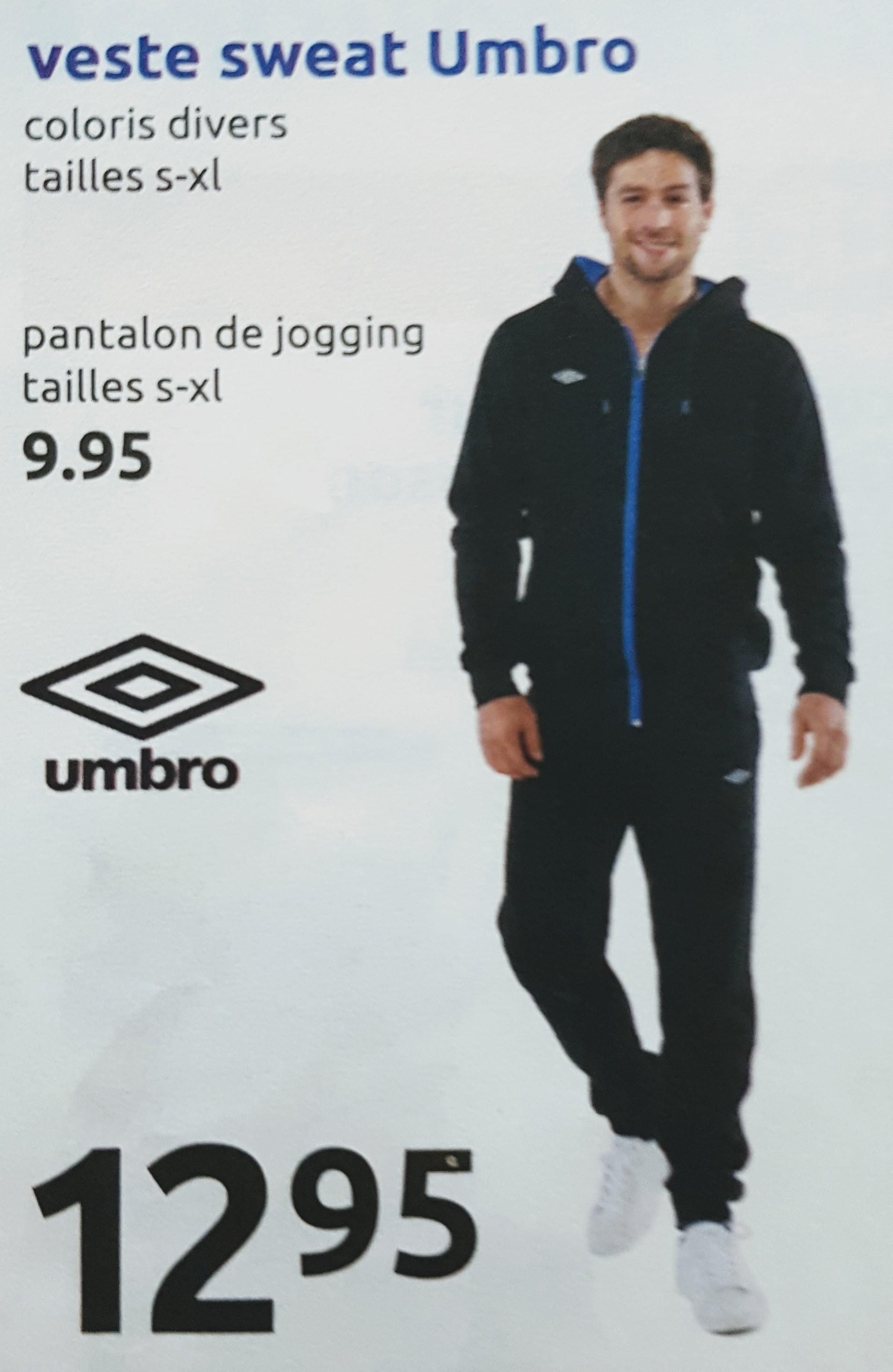 Pantalon de jogging homme Umbro à 9.95€ et Sweat à capuche Umbro à 12.95€