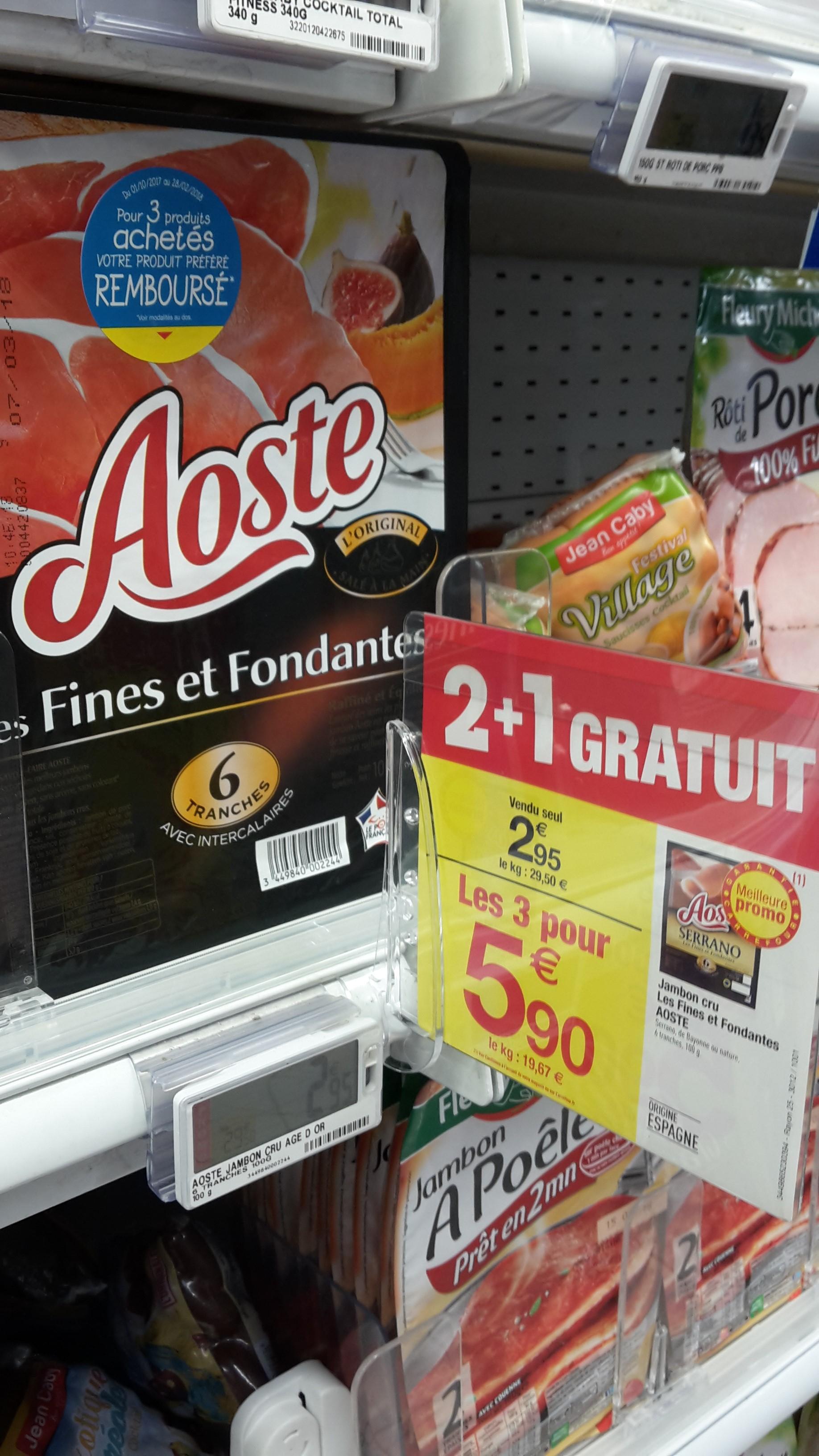3 Paquets de 6 tranches de Jambon Aoste (via ODR de 2.95€)
