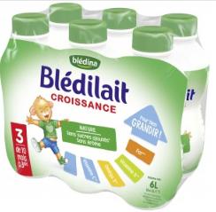 3 packs de Blédilait Croissance 18*1L (via 4,50€ de BDR)
