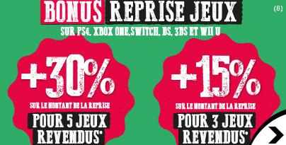 30% supplémentaires sur le montant de la reprise à partir de 5 jeux revendus - Micromania