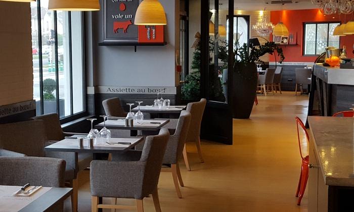 Menu entrée + plat pour 2 personnes à 13.52€ ou 4 personnes à 27.92€ au restaurant Assiette au Bœuf Villeneuve-d'Ascq (59)