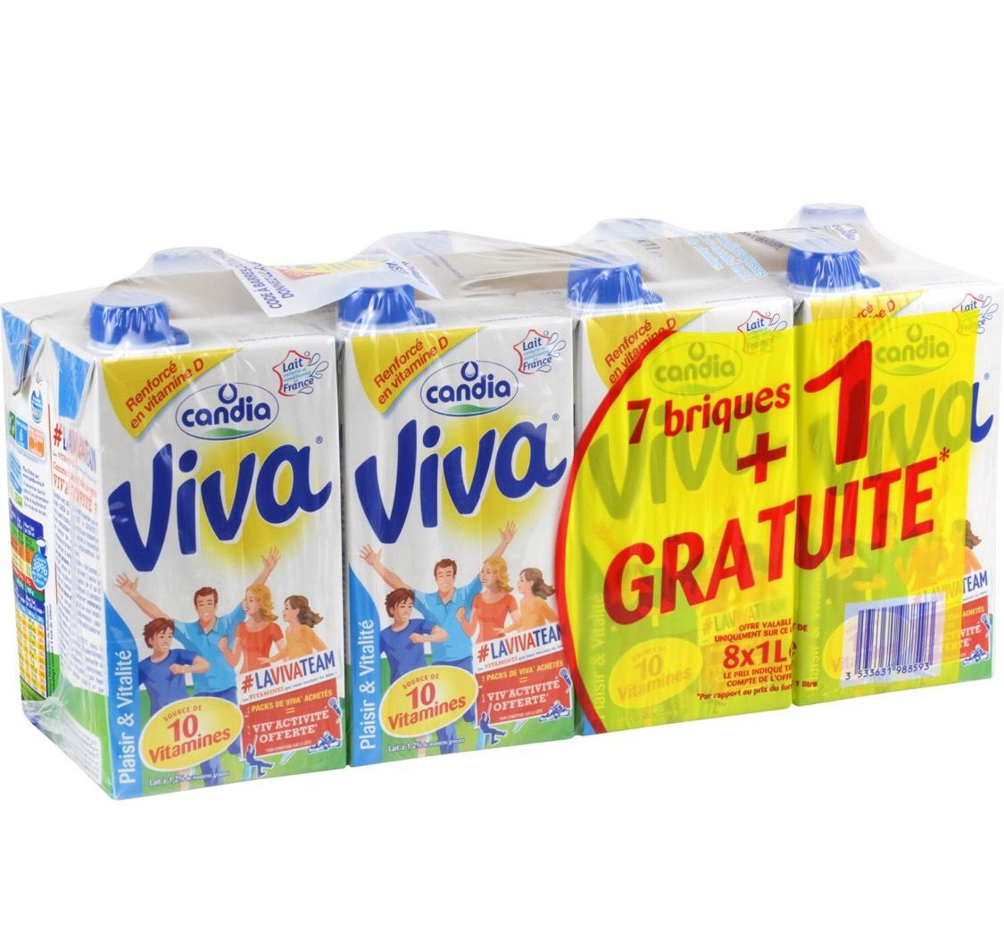 Lot de 2 packs de 8 briques de lait Candia Viva - 1L