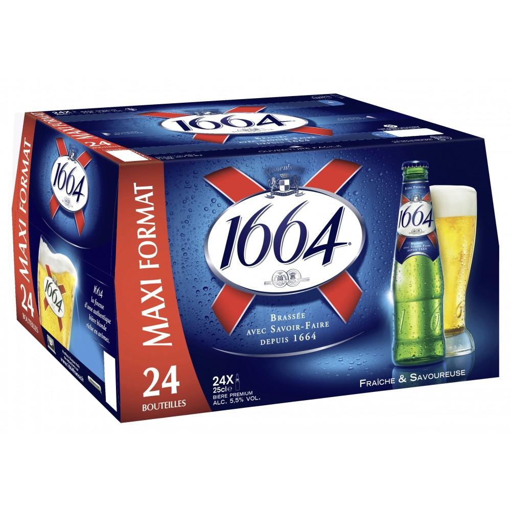 Pack de 24 bières blondes 1664 - 25 cl (via 5.8€ sur la carte de fidélité)