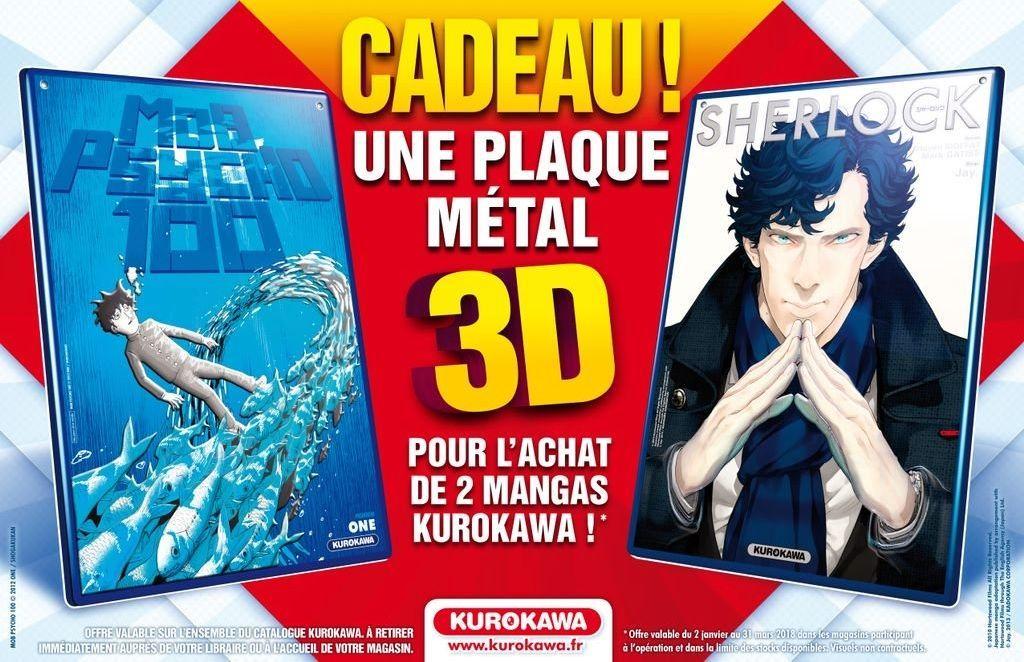 2 mangas Kurokawa achetés chez votre libraire participante = 1 plaque en métal avec effet 3D offerte dans les librairies participantes