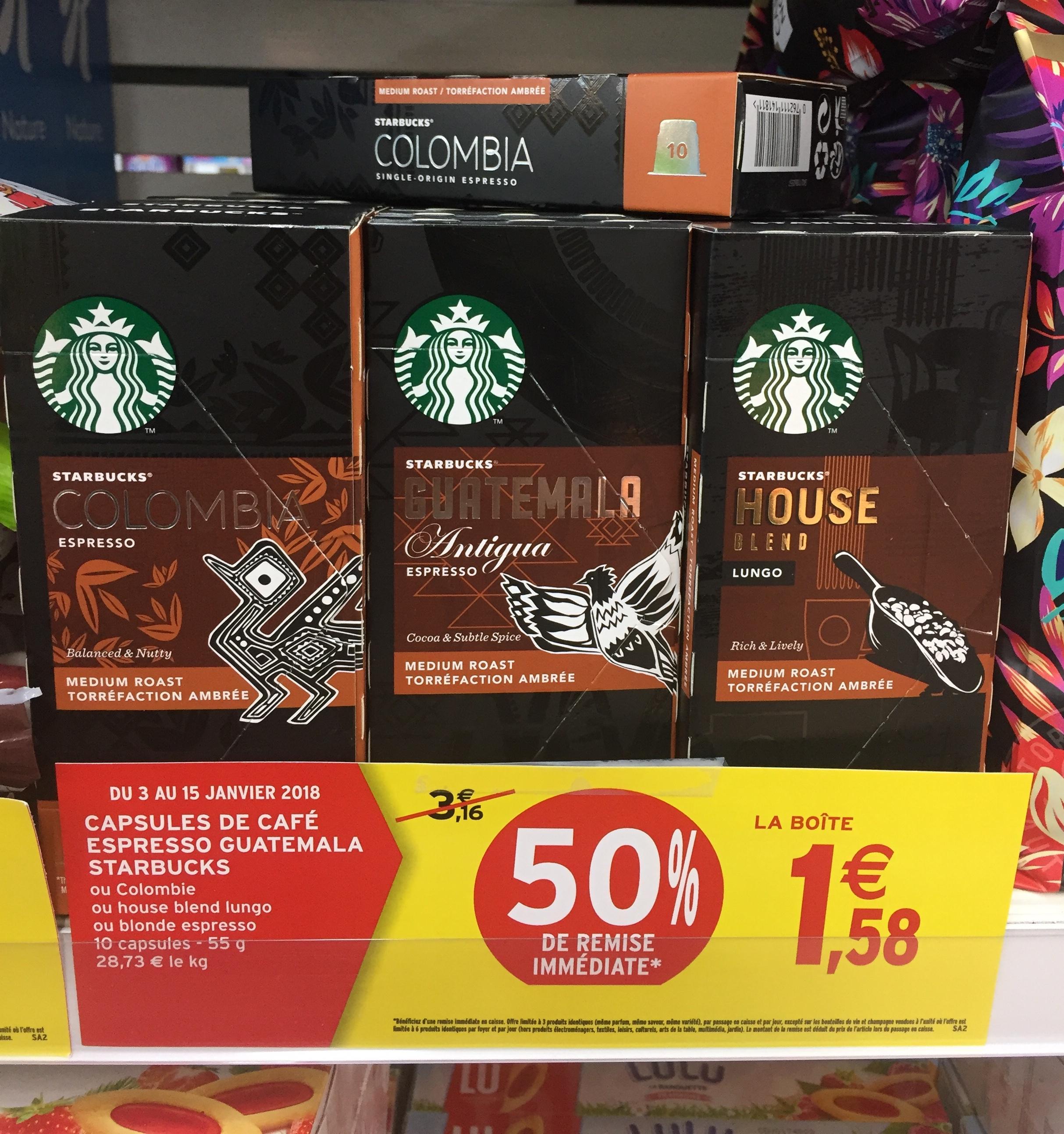 Starbucks 10 capsules en aluminium de café compatibles Nespresso