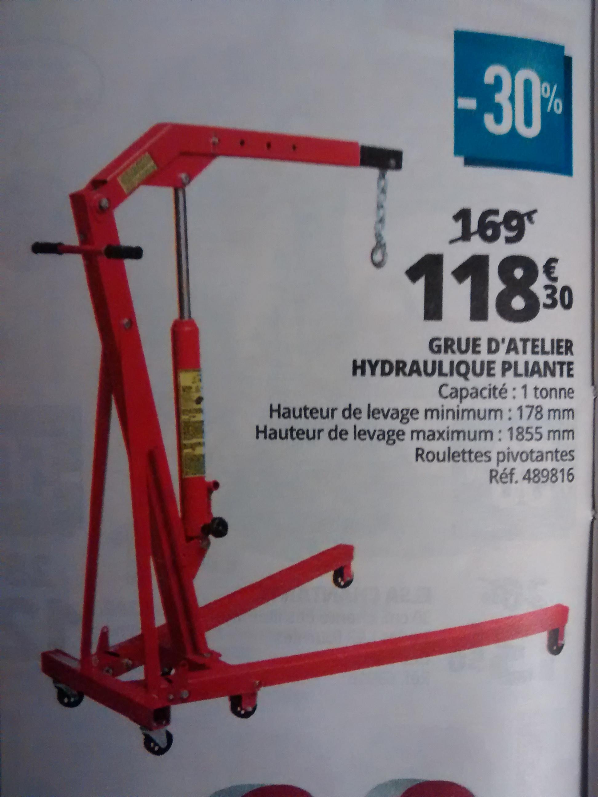 Grue d'atelier hydraulique pliante - Capacité 1 Tonne