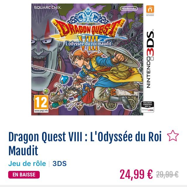 Sélection de jeux en promotion - Ex: Dragon quest VIII l'odyssée du roi maudit sur 3DS en magasin