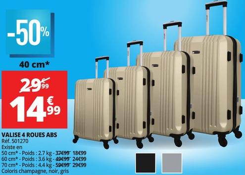 Sélection de produits en promotion - Ex : Valise 40 cm en ABS (4 Roues - Coloris au choix)