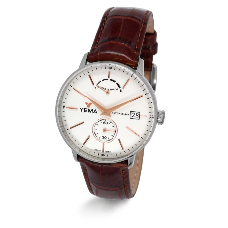 Sélection de montres automatiques Yema en promotion - Ex : YEAU002/WU (en cuir marron, 38 mm)