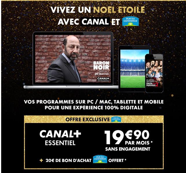 [Sous conditions] Abonnement Canal+ Essentiel sans engagement + 20€ de bon d'achat chez RueduCommerce