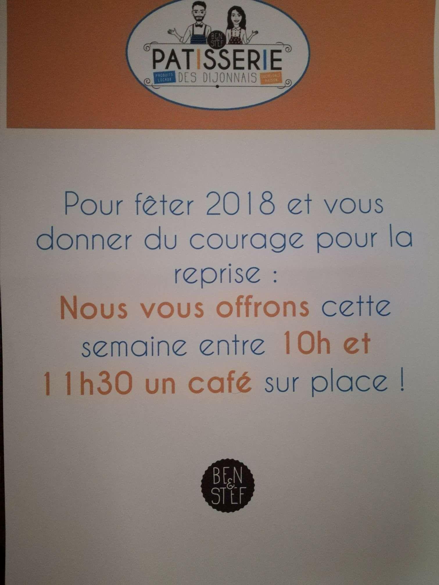De 10h à 11h30 : 1 Café offert - Patisserie Ben & Stef Dijon (21)