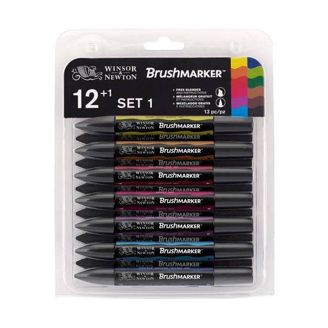Sélection de marqueurs Winsor & Newton en promotion - Ex : Lot de 12 marqueurs Brushmarker 12 tons Vibrants
