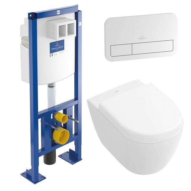 Pack WC suspendu Cuvette Subway 2.0 + Abattant + Plaque + Batisupport Villeroy et Boch