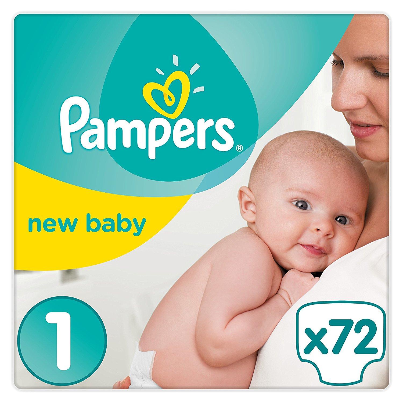 Pack Géant de 72 couches Pampers New Baby - Taille 1 (2-5 kg / Nouveau-Né)